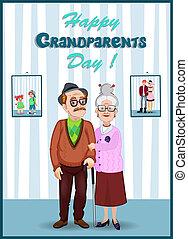 ewig, card., room., großeltern, gruß, zusammen, charaktere