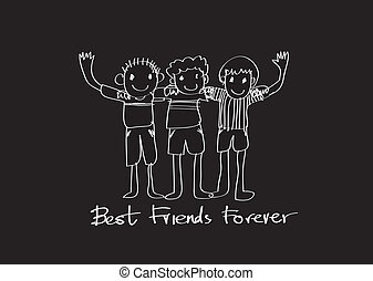 ewig, freundschaft, idee, design, friends, tag, am besten, ...