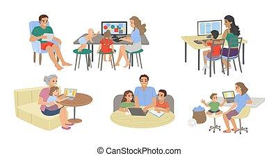 exámenes, toma, estudio, estudiantes, home., computadora, vector, computadora, en línea, deberes, niños, padres, ilustración