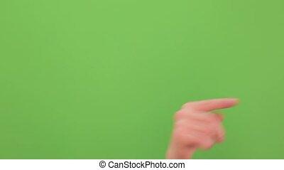 exécuté, multiple, toucher, footage., main, vert, arrière-plan., multi, vidéo, temps réel, gestes, écran