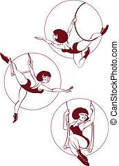 exécuter, cirque, jeune, artiste