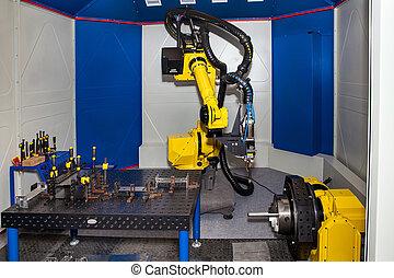 exécuter, conditionnement, applications, industriel, material-handling, dispenser, robot