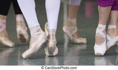 exécuter, danseurs, ballet, ralenti, danse, groupe