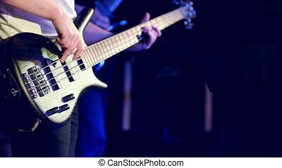 exécuter, guitare, basse