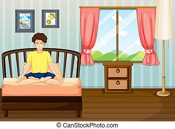 exécuter, intérieur, homme, yoga, sien, salle