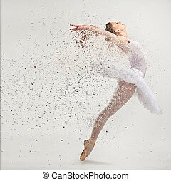 exécuter, jeune, ballerine, tutu, danseur, pointes