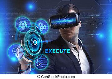 exécuter, voit, réseau, fonctionnement, inscription:, concept., jeune, virtuel, business, internet, homme affaires, technologie, réalité, lunettes
