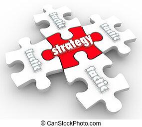 exécution, tactique, exécution, morceaux puzzle, plan, stratégie