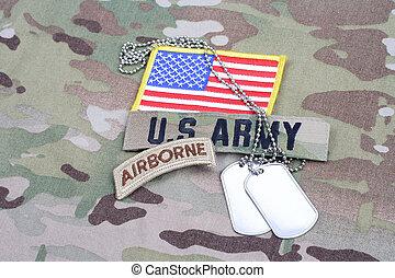 exército, aerotransportado, aba, bandeira, remendo, com, tag cão, ligado, camuflagem, uniforme
