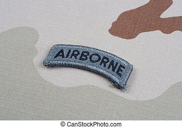 exército, aerotransportado, uniforme, camuflagem, aba