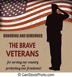 exército, americano, nós, soldado, bandeira, saudando