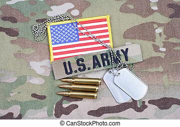 exército, bandeira, remendo, com, tag cão, com, 5.56, mm, círculos, ligado, camuflagem, uniforme