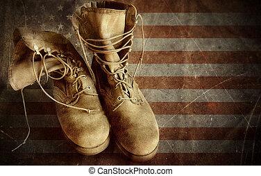 exército, botas, ligado, a, antigas, bandeira papel, fundo