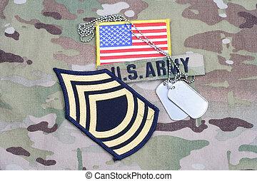 exército, cão, camuflagem, uniforme, bandeira, tag, remendo, grau, mestre, sargento