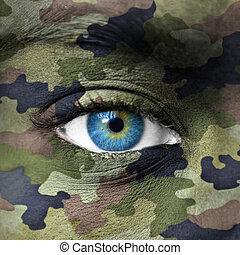 exército, camuflagem, cores, ligado, rosto humano