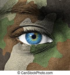 exército, camuflagem, ligado, rosto humano