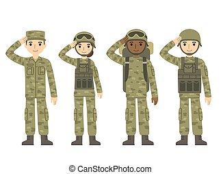 exército, caricatura, pessoas