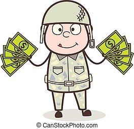 exército, dinheiro, mostrando, ilustração, vetorial, caricatura, homem