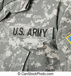 exército, eua., nós, remendo, bandeira, uniforme militar