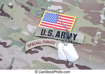 exército, forças especiais, aba, bandeira, remendo, com, tag cão, ligado, camuflagem, uniforme