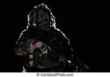 exército, franco-atirador, com, pintado, rosto