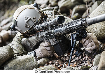 exército, guarda-florestal, franco-atirador