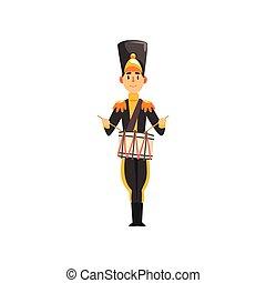exército, ilustração, uniforme, membro, soldado, vetorial, pretas, instrumento, fundo, faixa, baterista, militar, branca, tocando, musical
