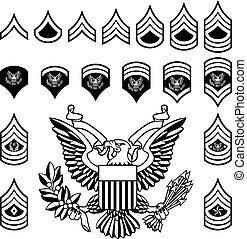 exército, militar, grau, insignia