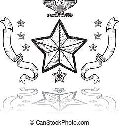 exército, militar, insignia