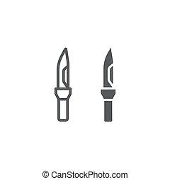exército, militar, linear, vetorial, linha, gráficos, faca, glyph, ícone, arma, experiência., padrão, sinal, branca