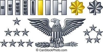 exército, militar, oficial, insignia, graus