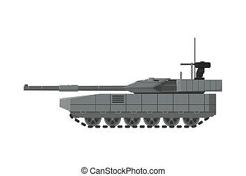 exército, modernos, tanque, isolado, ícone