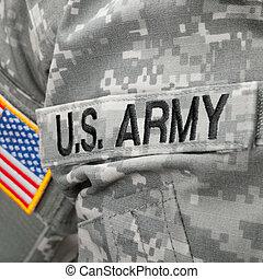 exército, nós, remendo, bandeira, solder's, uniforme