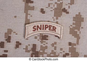 exército, nós, uniforme, camuflagem, aba, franco-atirador