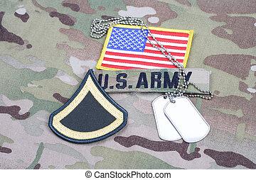 exército, primeira classe confidencial, grau, remendo, bandeira, remendo, com, tag cão, ligado, camuflagem, uniforme