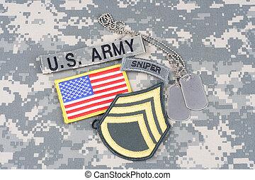 exército, proveja pessoal sargento, grau, remendo, franco-atirador, aba, bandeira, remendo, com, tag cão, ligado, camuflagem, uniforme