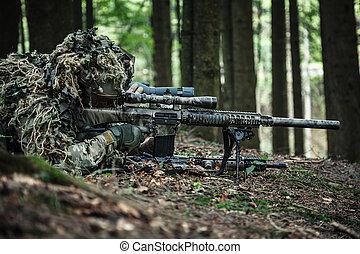 exército, rangers, franco-atirador, par