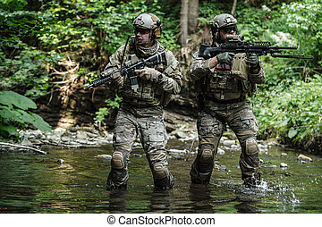 exército, rangers, montanhas