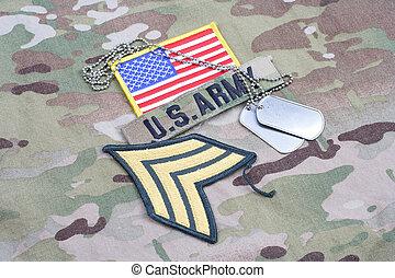 exército, sargento, grau, remendo, bandeira, remendo, com, tag cão, ligado, camuflagem, uniforme