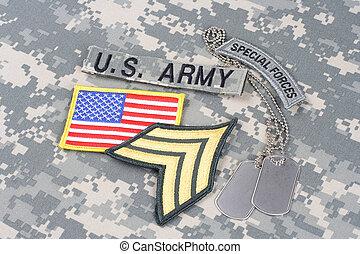 exército, sargento, grau, remendo, forças especiais, aba, bandeira, remendo, com, tag cão, ligado, camuflagem, uniforme