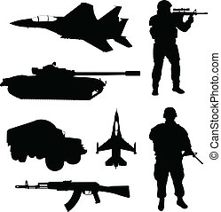 exército, silhuetas