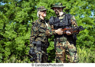 exército, soldados, em, uniformes militares
