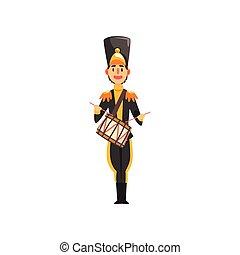 exército, tambor, ilustração, uniforme, membro, soldado, vetorial, pretas, instrumento, fundo, faixa, militar, branca, tocando, musical