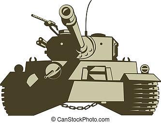 exército, tanque, retro