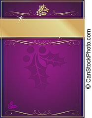 exótico, adornado, navidad, etiqueta, acebo, prospere, o, tarjeta