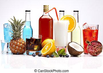 exótico, alcohol, bebidas, conjunto, con, fruits