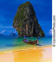 exótico, azul, playa, cielo,  tropical, arena, tradicional, Tailandia, barco
