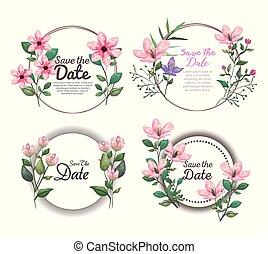 exótico, botánico, conjunto, hojas, tropical, tarjetas, flores