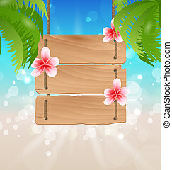 exótico, de madera, frangipani, guidepost, palmtrees, ...