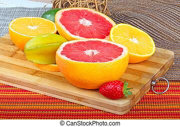exótico, frutas